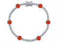 Star K™ Classic Round 6mm Simulated Mexican Fire Opal Tennis Bracelet