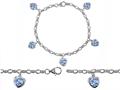 Original Star K™ High End Tennis Charm Bracelet With 5pcs 7mm Heart Shape Simulated Aquamarine