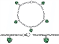 Original Star K™ High End Tennis Charm Bracelet With 5pcs 7mm Heart Shape Simulated Emerald