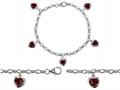 Star K™ High End Tennis Charm Bracelet With 5pcs 7mm Heart Shape Genuine Garnet