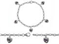 Original Star K™ High End Tennis Charm Bracelet With 5pcs 7mm Heart Shape Mystic Topaz