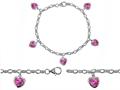 Star K™ High End Tennis Charm Bracelet With 5pcs 7mm Heart Shape Created Pink Sapphire