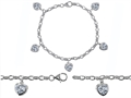 Original Star K™ High End Tennis Charm Bracelet With 5pcs 7mm Genuine Heart White Topaz