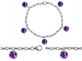 Star K™ High End Tennis Charm Bracelet With 5pcs 7mm Genuine Round Amethyst
