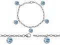 Original Star K™ High End Tennis Charm Bracelet With 5pcs 7mm Round Simulated Aquamarine