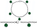 Original Star K™ High End Tennis Charm Bracelet With 5pcs 7mm Round Simulated Emerald