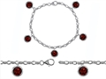 Star K™ High End Tennis Charm Bracelet With 5pcs 7mm Round Genuine Garnet
