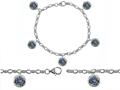 Original Star K™ High End Tennis Charm Bracelet With 5pcs 7mm Round Mystic Topaz