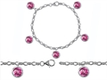 Star K™ High End Tennis Charm Bracelet With 5pcs 7mm Round Created Pink Sapphire