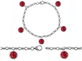 Star K™ High End Tennis Charm Bracelet With 5pcs 7mm Round Created Ruby