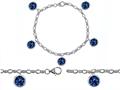 Original Star K™ High End Tennis Charm Bracelet With 5pcs 7mm Round Created Sapphire