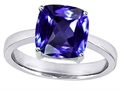 Star K™ Large 10mm Cushion Cut Solitaire Ring With Simulated Tanzanite