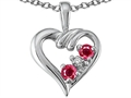 Tommaso Design(tm) Genuine Ruby and Diamond Heart Pendant Necklace