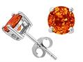 Tommaso Design™ 5mm Round Genuine Orange Sapphire Earrings Studs