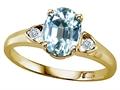 Tommaso Design™ Oval 8x6mm Genuine Aquamarine Ring