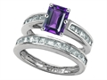 Star K™ Emerald Cut Genuine Amethyst Wedding Set