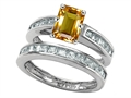 Original Star K™ Emerald Cut Genuine Citrine Wedding Set