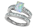 Star K™ Emerald Cut Simulated Opal Wedding Set