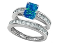 Star K™ Emerald Cut Simulated Blue Opal Wedding Set