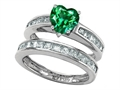 Star K™ Heart Shape Simulated Emerald Wedding Set