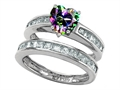 Star K™ Heart Shape Rainbow Mystic Topaz Wedding Set