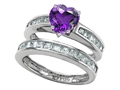 Star K™ Heart Shape Genuine Amethyst Wedding Set