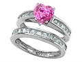 Star K™ Heart Shape Created Pink Sapphire Wedding Set