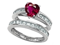 Star K™ Heart Shape Created Ruby Wedding Set