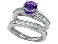 Star K™ Round Genuine Amethyst Wedding Set