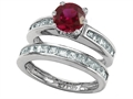 Star K™ Round Created Ruby Wedding Set