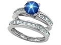 Star K™ Round Created Star Sapphire Wedding Set