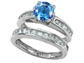 Star K™ Round Genuine Blue Topaz Wedding Set