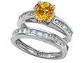 Star K™ Round Genuine Citrine Wedding Set