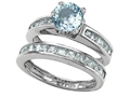 Original Star K™ Round Simulated Aquamarine Wedding Set