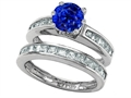 Star K™ Round Created Sapphire Wedding Set
