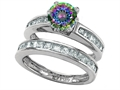 Star K™ Round Rainbow Mystic Topaz Wedding Set