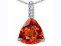 Star K™ Large 12mm Trillion Cut Simulated Mexican Orange Fire Opal Pendant Necklace