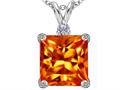 Star K™ Large 12mm Square Cut Simulated Mexican Orange Fire Opal Pendant Necklace
