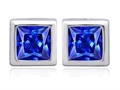Star K™ 8mm Square Cut Simulated Tanzanite Earrings Studs