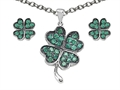 Celtic Love by Kelly Simulated Emerald Lucky Clover Pendant with matching earrings