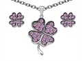 Celtic Love by Kelly Created Pink Sapphire Lucky Clover Pendant with matching earrings