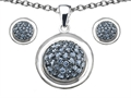 Original Star K™ Simulated Aquamarine Round Puffed Pendant with matching earrings