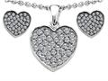 Star K™ Cubic Zirconia Heart Shape Love Pendant with matching earrings