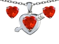 Star K™ Simulated Orange Mexican Fire Opal Heart with Arrow Pendant Necklace with matching earrings