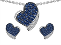 Star K™ Created Sapphire Heart Shape Love Pendant With Matching Earrings