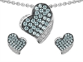 Star K™ Simulated Aquamarine Heart Shape Love Pendant With Matching Earrings