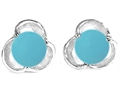 Star K™ Round Simulated Turquoise Flower Earrings Studs