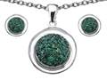 Original Star K™ Simulated Emerald Round Puffed Pendant with matching earrings