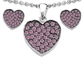 Star K™ Created Pink Sapphire Heart Shape Love Pendant with matching earrings