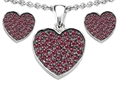 Star K™ Created Ruby Heart Shape Love Pendant with matching earrings